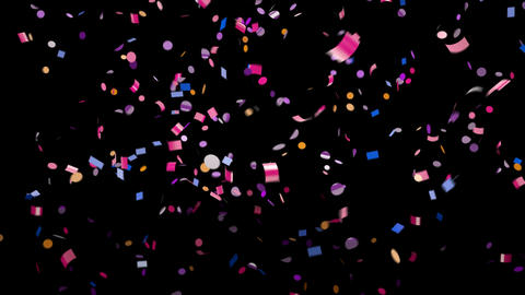 Falling multi-colored confetti with alpha channel Footage