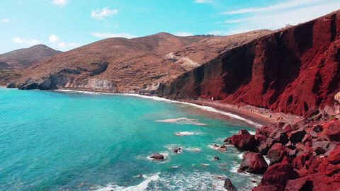 Red beach panoramic view, Santorini, Greece. Landscape mountain background Footage
