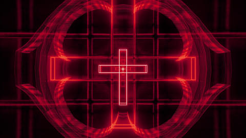 red glowing holy christian cross 3d rendering motion background wallpaper club Animation