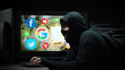 Hacker Stealing Personal Private Social Media Information Live Action