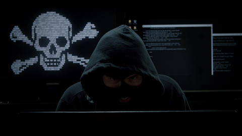 Internet Piracy Hacker Robbing Computer for Information Live Action
