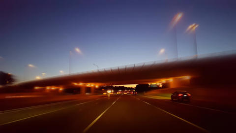 *Drunk Motion Blur Intoxicated Version* Driving City Highway During the Evening. Driver Point of Live Action