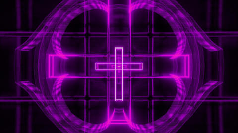 magenta glowing holy christian cross 3d rendering motion background wallpaper Animation