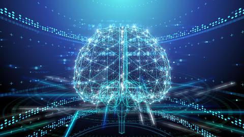 AI, artificial intelligence digital network technologies 19 1 Brain 2 blue2 4k Animation