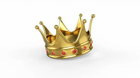 Royal crown fallen on a white background Footage