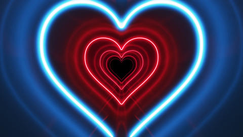 Beautiful Romantic Abstract Tunnel Heart Shape with Neon Light Lines Moving Fast Footage