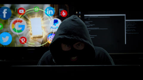 Hacker Robbing a Woman of her Private Social Media Information Live Action