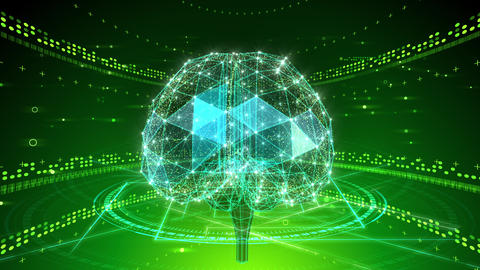 AI, artificial intelligence digital network technologies 19 1 Brain 2 green 4k CG動画