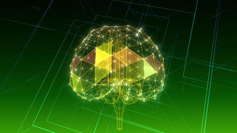 AI, artificial intelligence digital network technologies 19 1 Brain 1 green 4k CG動画