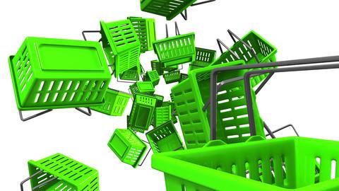 Green Shopping baskets on white bacground Animation