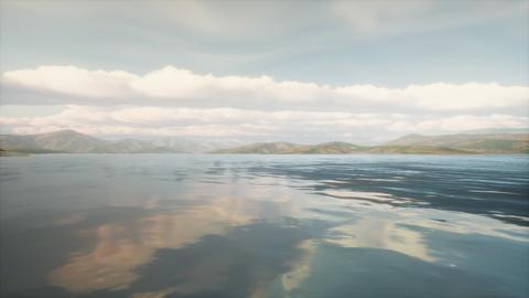 Beautiful calm lake with sunset Footage