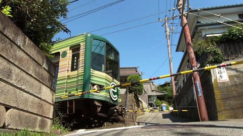 Railroad car traveling on a level crossing ビデオ