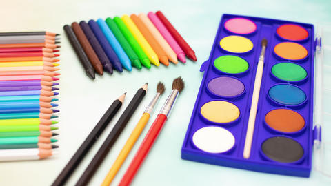 Art supplies appear and disappear from the table - Stop motion animation Animation