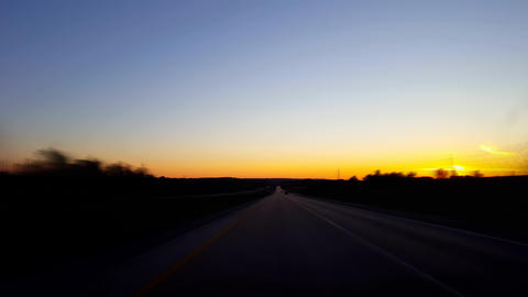 *Drunk Motion Blur Intoxicated Version* Driving Rural Countryside Highway During Sunrise. Driver Live Action