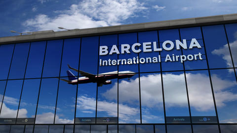 Airplane landing at Barcelona mirrored in terminal Live Action