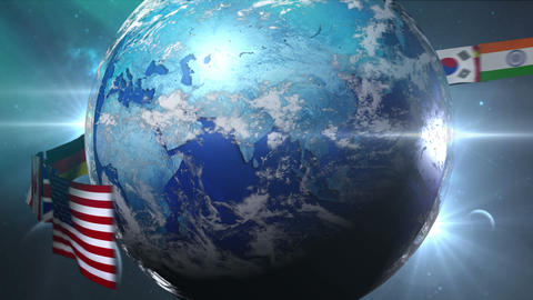Rotating Earth with gather world flags(included Alpha) CG動画素材