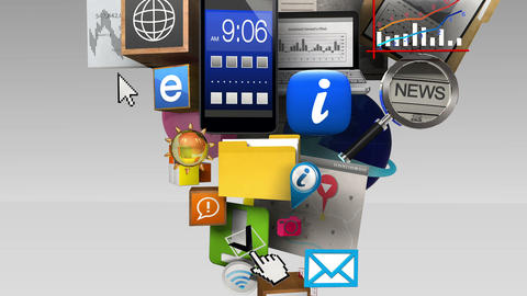 Exploding various information contents in the smart…, Stock Animation