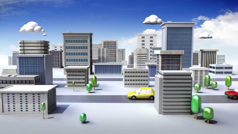 Construction building and Road, build city in animation Animation