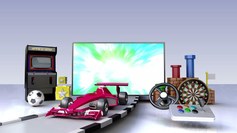 Smart TV, entertainment TV channel contents for Game concept Animation