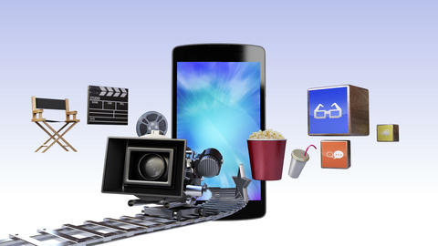 Smart Phone, contents for entertainment and movie concept Animation