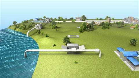 Process Control Water Purification system on Ground and text box Animation