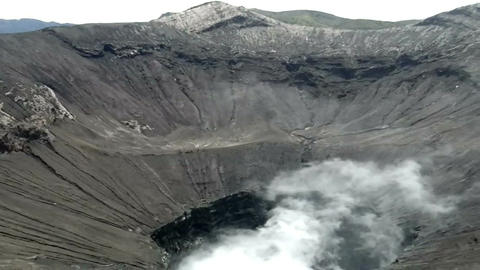 View inside the active volcano crater at Mt. Bromo, Tengger Semeru National Park Footage