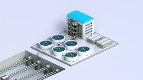 Process Control Water Purification system on Ground, 2 dimensional view Animation