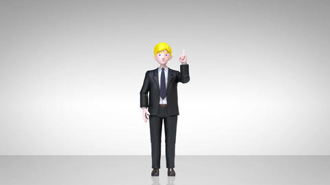 businessman character showing presentation, gesture pointing.1 CG動画素材