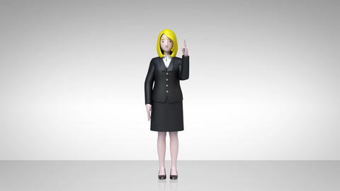 businesswoman character showing presentation, gesture pointing 2 CG動画素材