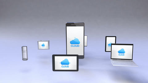 Cloud service in smart phone with ubiquitous mobile device concept Animation