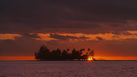 View of The Sunset. Island in The Ocean Footage
