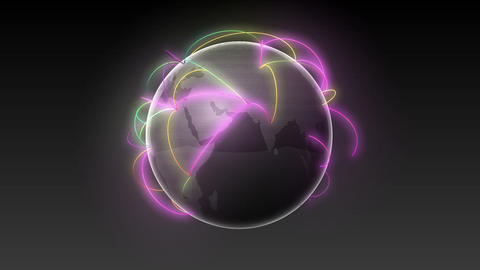 Start Africa,Growing Global Network Black earth-black background Animation