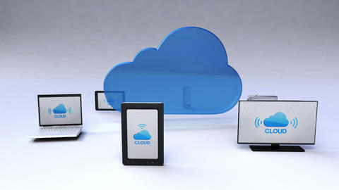 Cloud service with ubiquitous mobile device concept Animation