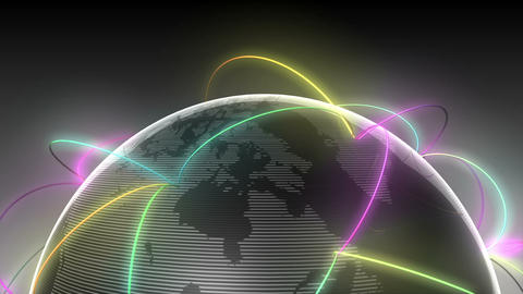 Growing Global Network Black half earth-black background Animation