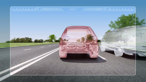 Automobile Technology. Road Lane alert .automotive Animation