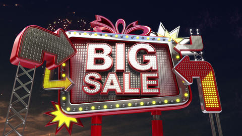 Sale sign 'Big Sale' in led light billboard promotion Animation