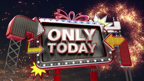 Sale sign 'Only Today' in led light billboard promotion Animation