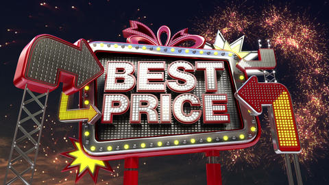 Sale sign 'Best Price' in led light billboard promotion Animation