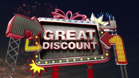 Sale sign 'GREAT DISCOUNT' in led light billboard promotion Animation