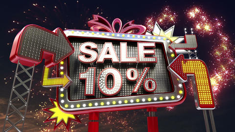 Sale sign 'SALE 10 percents' in led light billboard promotion Animation