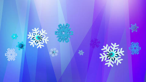 Abstract blue purple background with snowflakes Animation