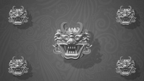 Rotating Oriental white goblins for VJ and stage background 2 Animation