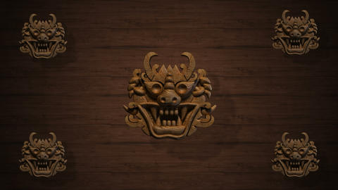 Rotating Oriental wood goblins for VJ and stage background Stock Video Footage