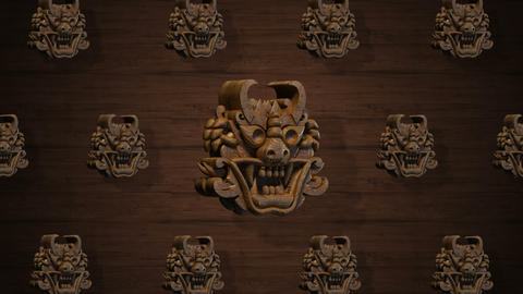 Rotating Oriental wood goblins for VJ and stage background Animation