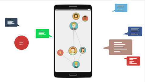 No more using Social networking services concept. using the smart phone Animation
