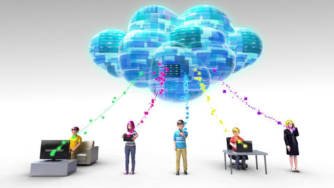 Cloud computing service connected people for using mobile device and PC 2 Footage
