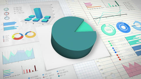 90 percent Pie chart with various economic finances graph version 2.(no text) Animation