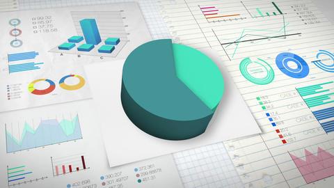 60 percent Pie chart with various economic finances graph version 2.(no text) Animation
