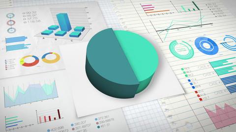 50 percent Pie chart with various economic finances graph version 2.(no text) Animation