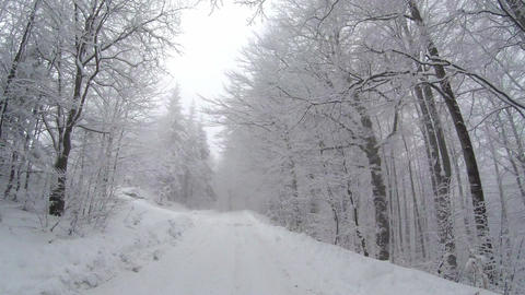 Empty snow covered road in winter landscape Footage